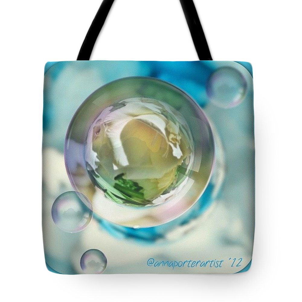 Floral Tote Bag featuring the photograph White Gladiola Marble In A Bubble by Anna Porter