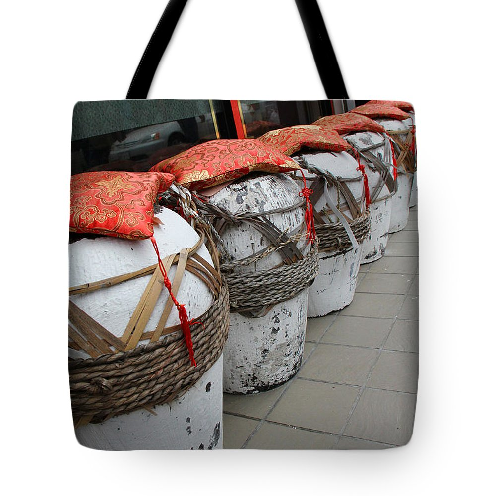 Jennifer Bright Tote Bag featuring the photograph White Jars Of Narita by Jennifer Bright