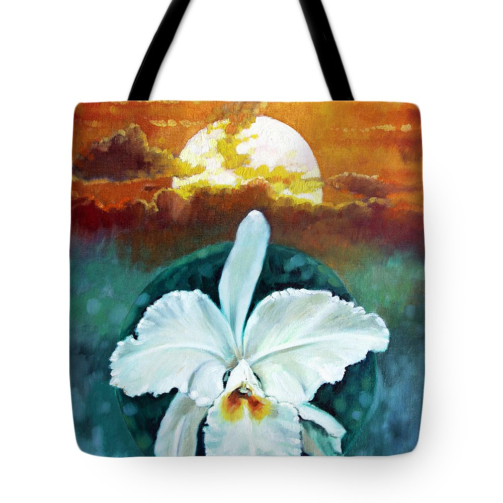 Orchid Tote Bag featuring the painting White Life On Blue Planet by John Lautermilch