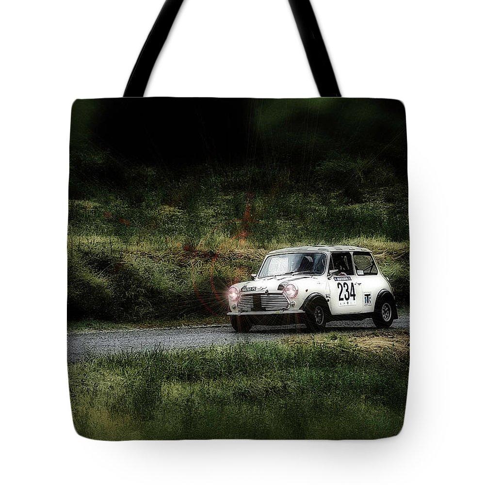 Car Tote Bag featuring the photograph White Mini Innocenti Austin Morris by Alain De Maximy