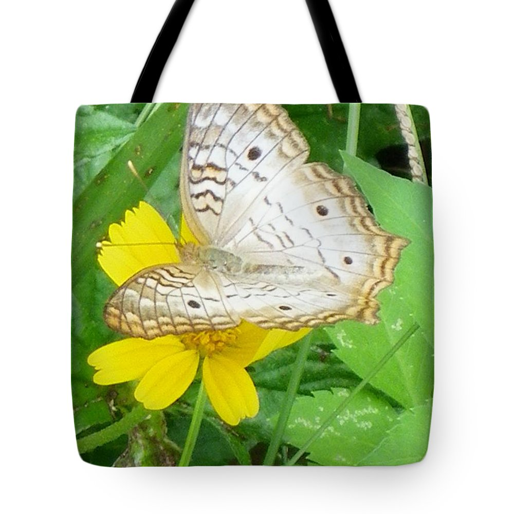 Butterfly Tote Bag featuring the photograph White Peacock Butterfly by Peggy King