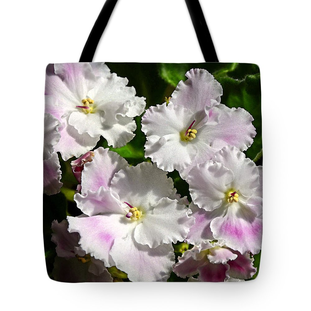African Violet Tote Bag featuring the photograph White Pink Ruffled Violet by Paul Mashburn