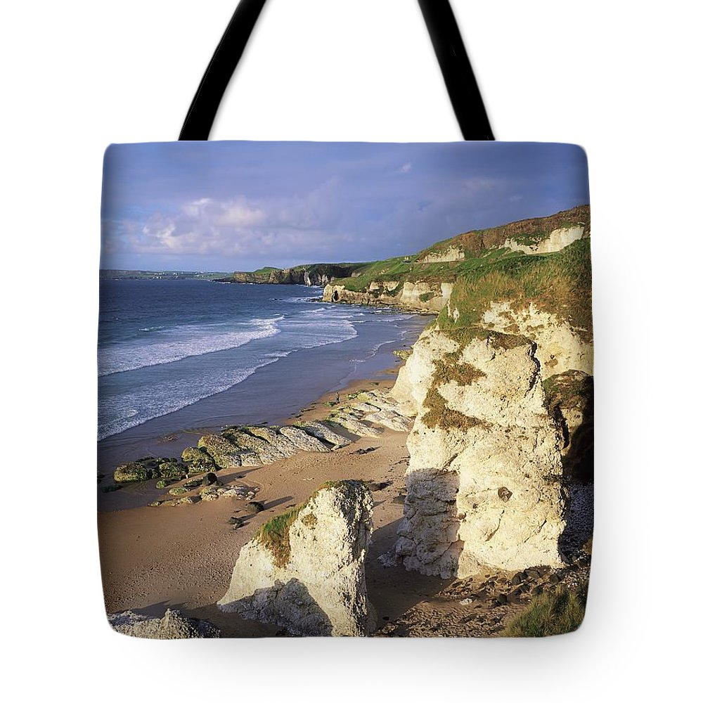 Beach Tote Bag featuring the photograph White Rocks Beach, Between Portrush & by The Irish Image Collection