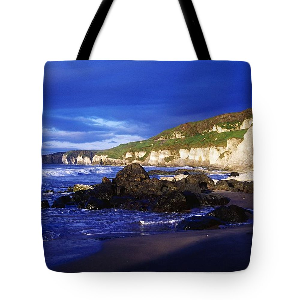 Attraction Tote Bag featuring the photograph White Rocks Strand, County Antrim by Gareth McCormack