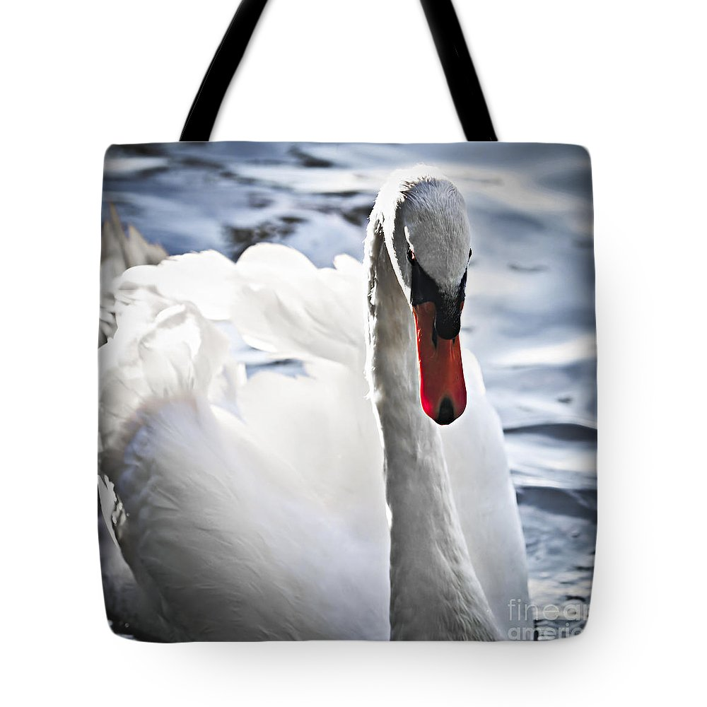 Swan Tote Bag featuring the photograph White Swan by Elena Elisseeva