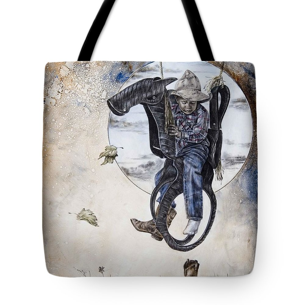 Cowboy Tote Bag featuring the painting Whoops by Virgil Stephens