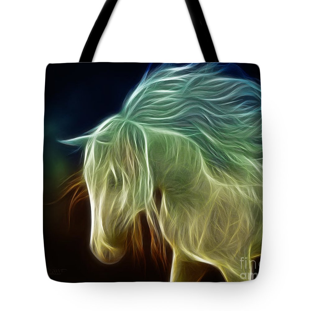 3d Tote Bag featuring the digital art Wild Horse by Jutta Maria Pusl