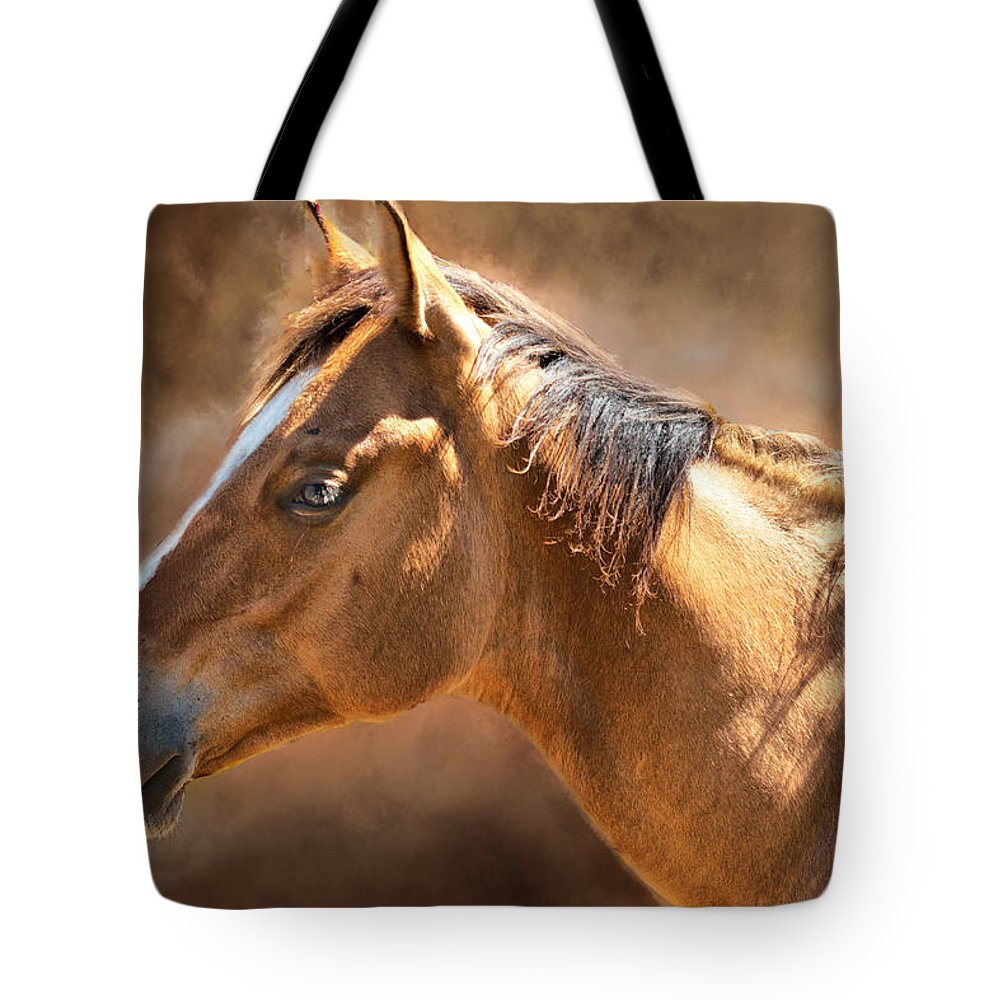 Horse Tote Bag featuring the digital art Wild Mustang by Mary Almond