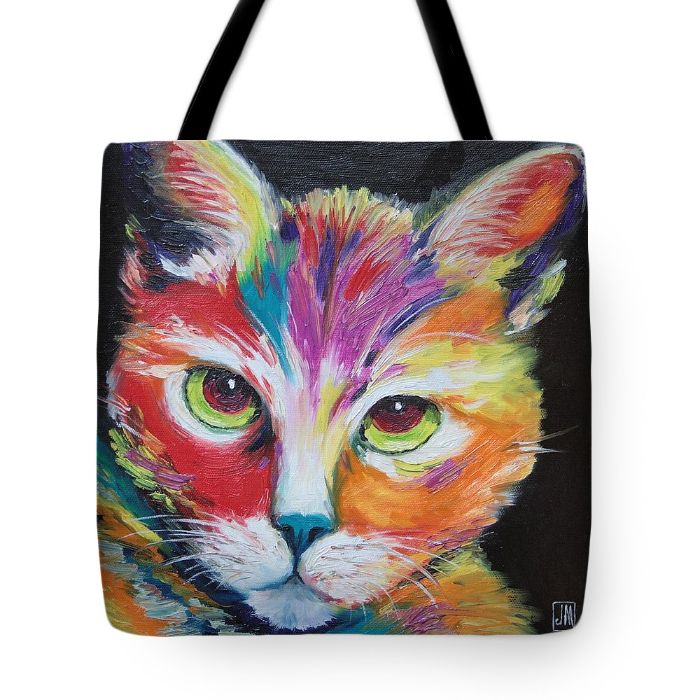 Cat Tote Bag featuring the painting Wild One by Jane Mick