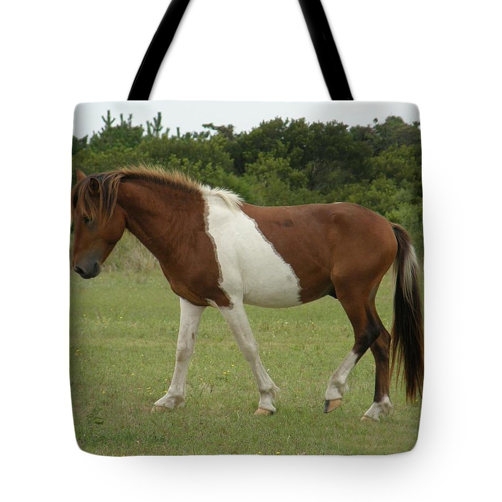 Pony Tote Bag featuring the photograph Wild Pony On Assateague Island Maryland by Sven Migot