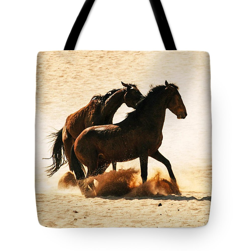 Action Tote Bag featuring the photograph Wild Stallion Clash 3 by Alistair Lyne
