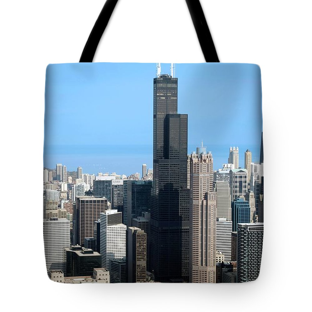 Cities Tote Bag featuring the photograph Willis Sears Tower 01 Chicago by Thomas Woolworth