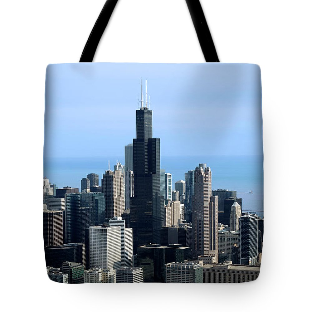Cities Tote Bag featuring the photograph Willis Sears Tower 02 Chicago by Thomas Woolworth