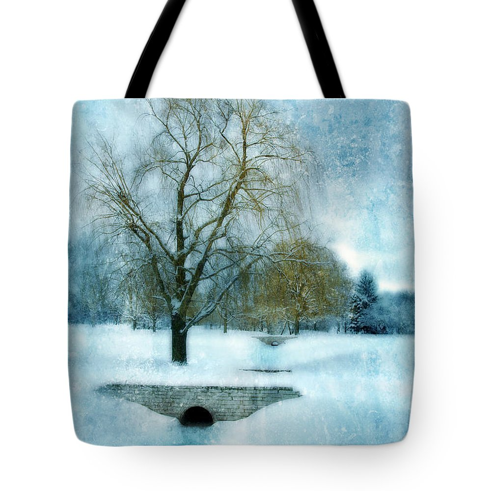 Willows Tote Bag featuring the photograph Willow Trees By Stream In Winter by Jill Battaglia