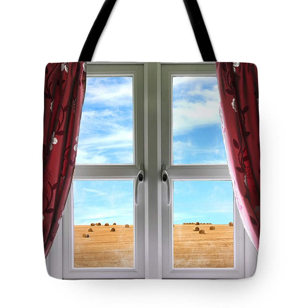 Window Tote Bag featuring the photograph Window And Curtains With View Of Crops by Simon Bratt Photography LRPS