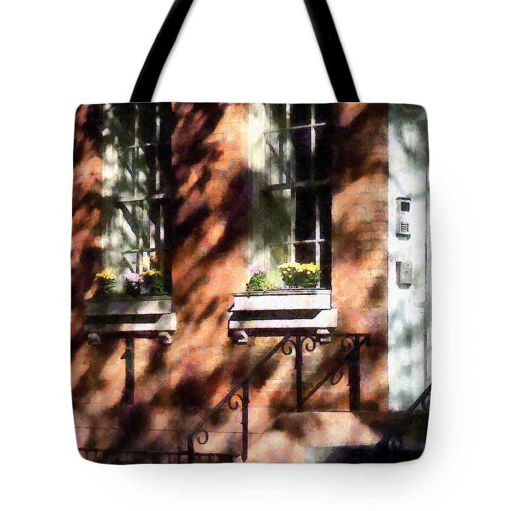 Window Box Tote Bag featuring the photograph Window Boxes Greenwich Village by Susan Savad