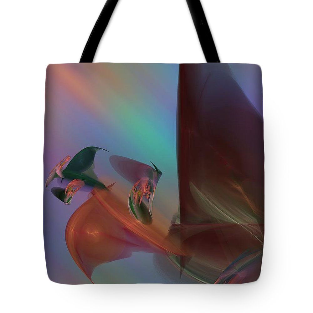 Rainbow Colors Abstract Tote Bag featuring the digital art Winds Of Change by Christy Leigh