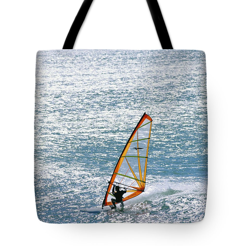 North America Tote Bag featuring the photograph Windsurfer, Baja, Mexico by Skip Brown