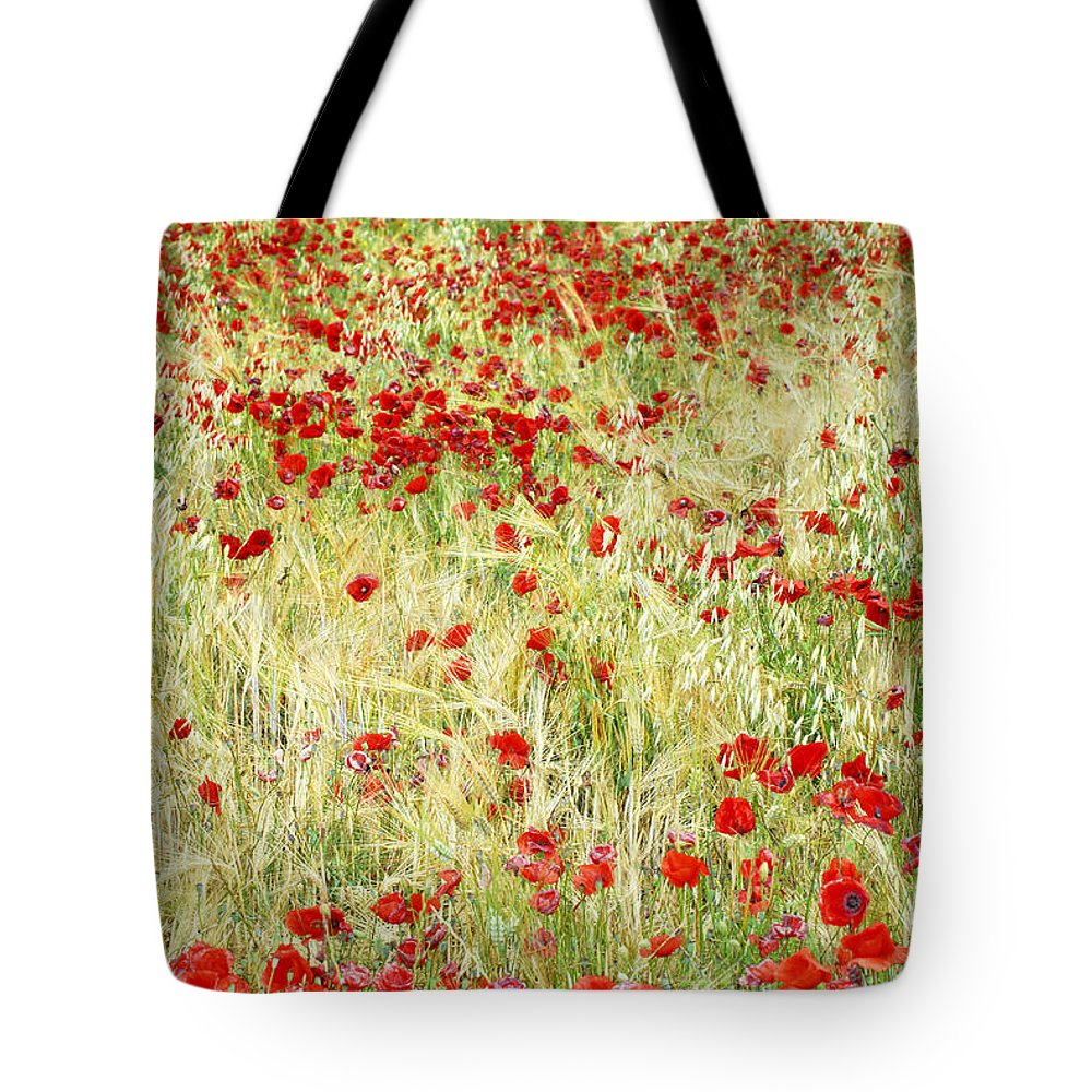 Windy Tote Bag featuring the photograph Windy Poppies by Guido Montanes Castillo