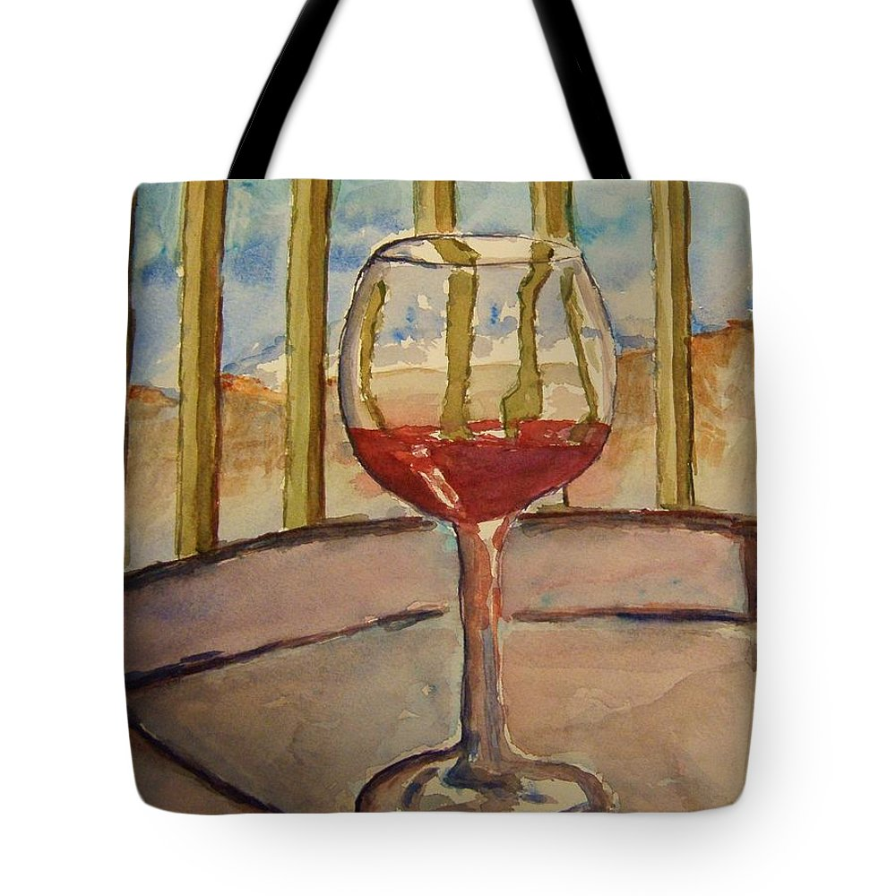Red Wine Tote Bag featuring the painting Wine By The Water by Elaine Duras