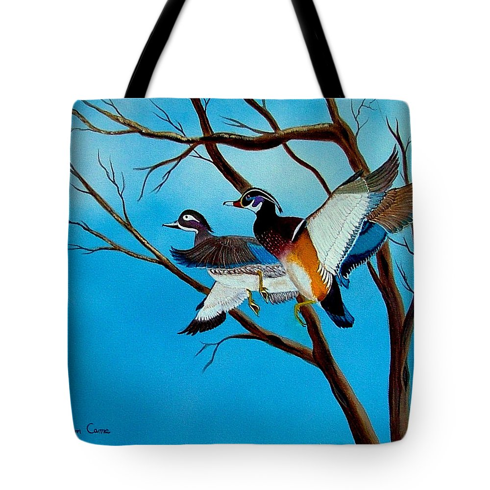 Birds--ducks--wildlife Tote Bag featuring the painting Wingin' It by Fram Cama