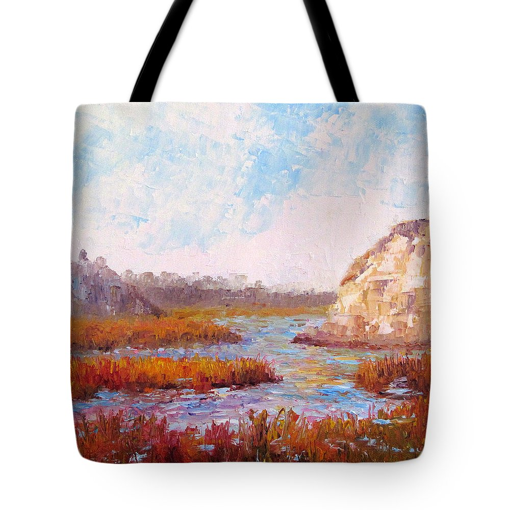 Water Tote Bag featuring the painting Winter At The Back Bay by Terry Chacon