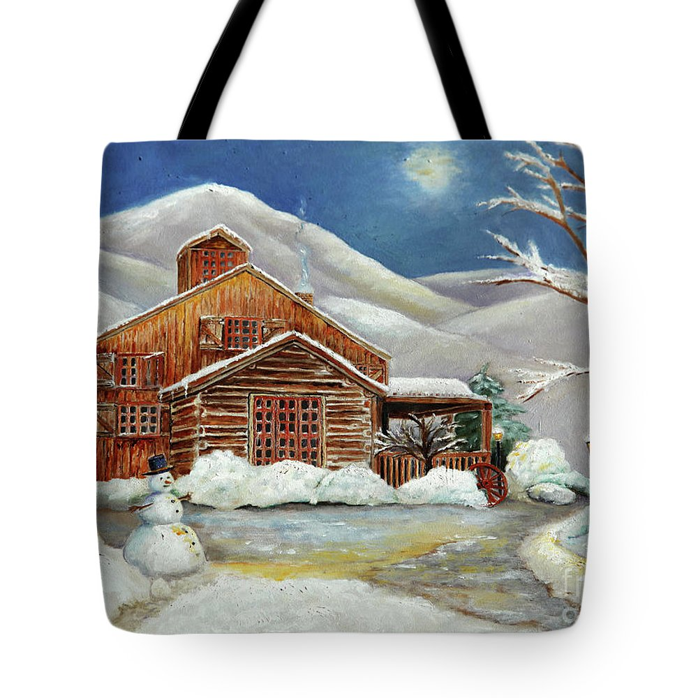 Landscape Tote Bag featuring the painting Winter At The Cabin by Portraits By NC