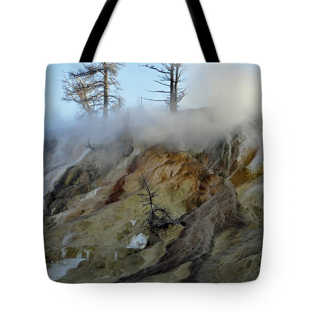 Yellowstone Tote Bag featuring the photograph Winter At Yellowstone's Mammoth Terrace by Bruce Gourley