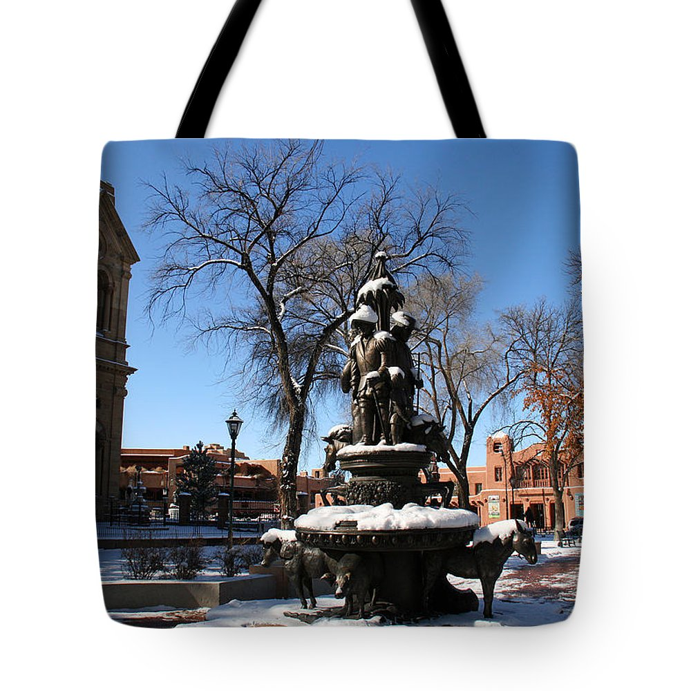 Santa Fe Tote Bag featuring the photograph Winter In Cathedral Park Santa Fe by Elizabeth Rose