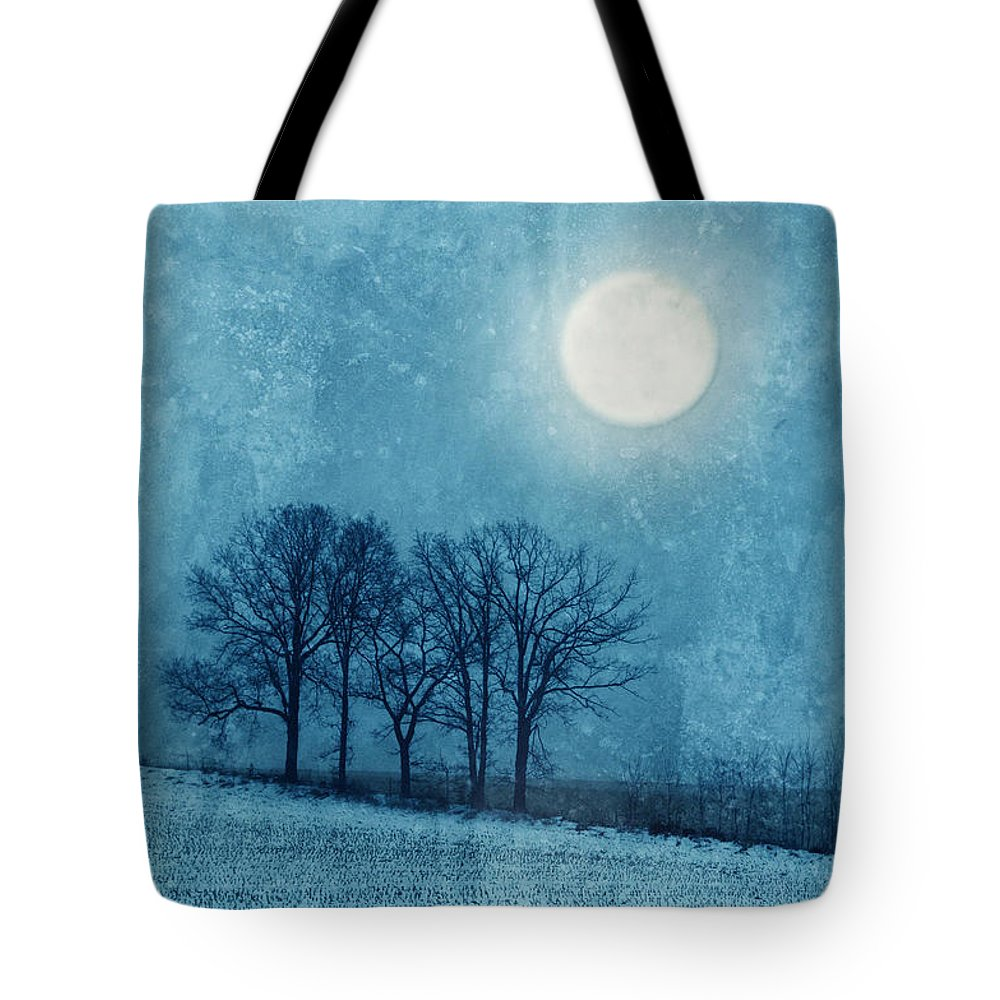 Moon Tote Bag featuring the photograph Winter Moon Over Farm Field by Jill Battaglia