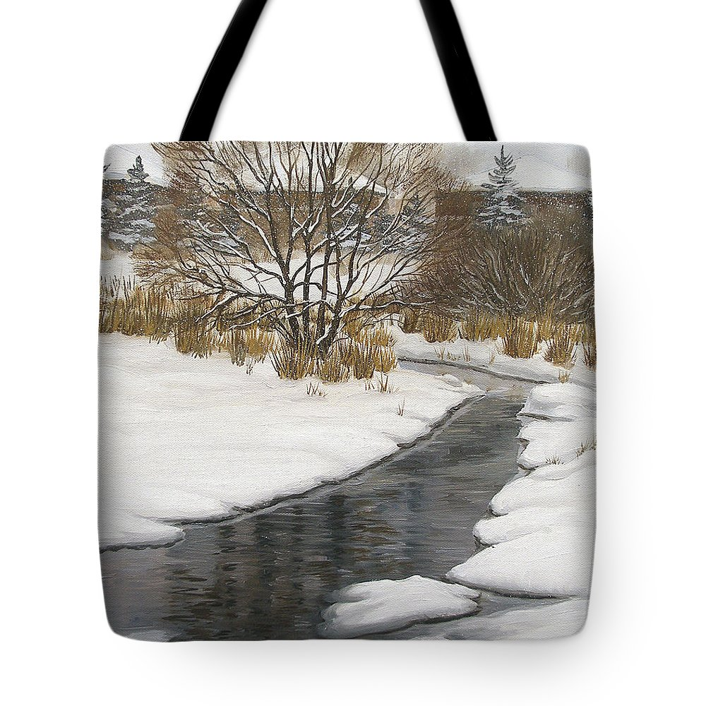 Winter Tote Bag featuring the painting Winter River by Olena Lopatina