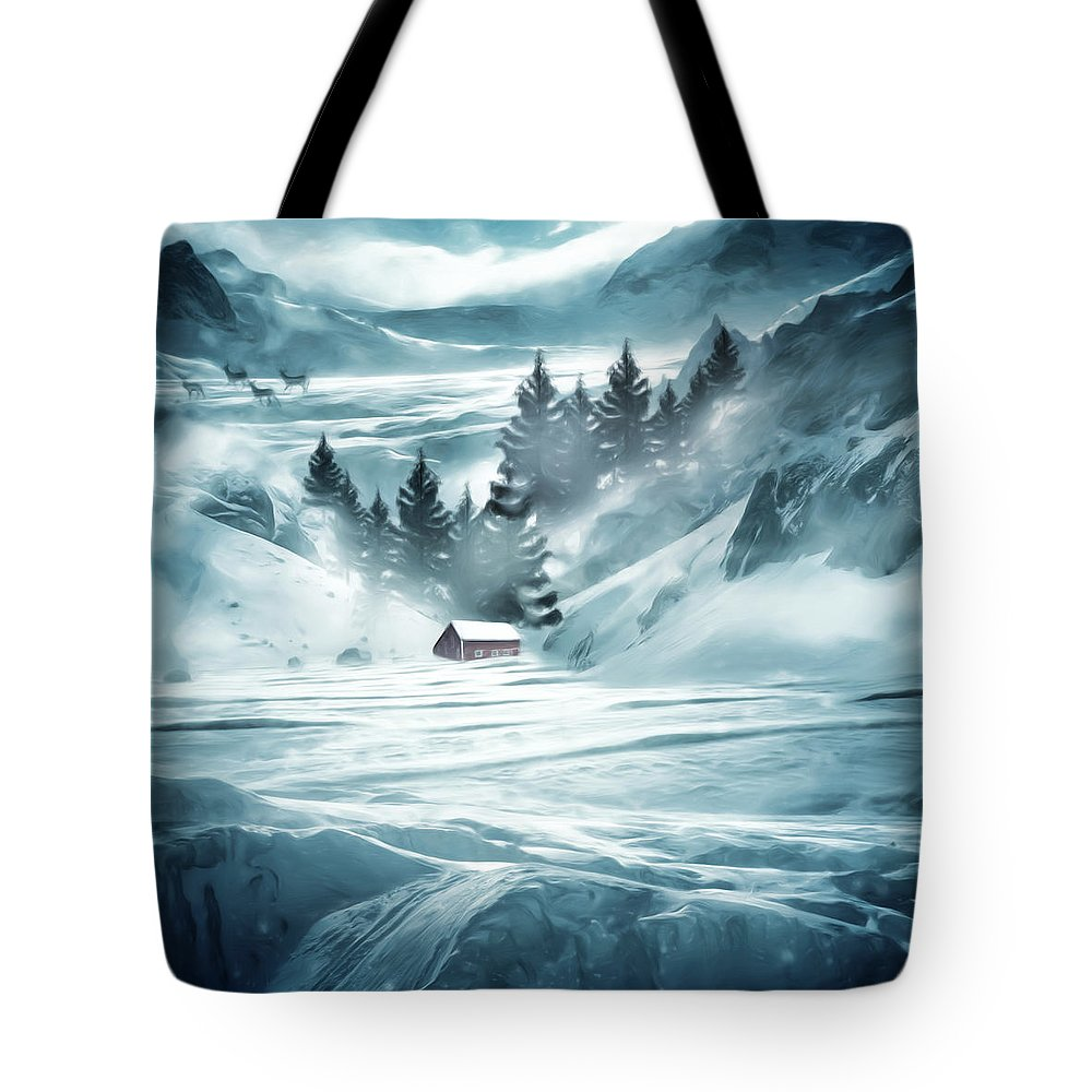 Barn Tote Bag featuring the digital art Winter Seclusion by Lourry Legarde