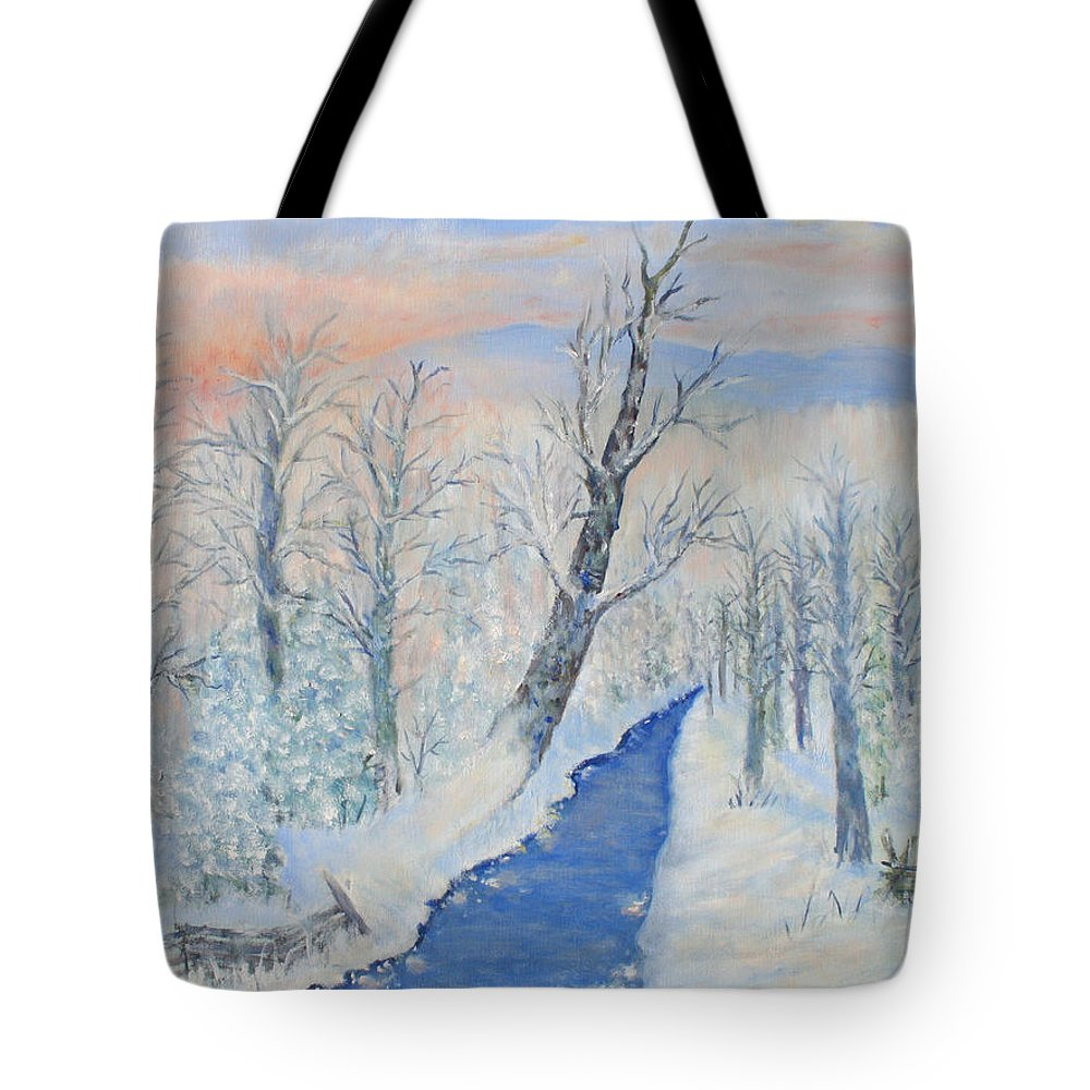 Winter Tote Bag featuring the painting Winter Sunrise by Ben Kiger