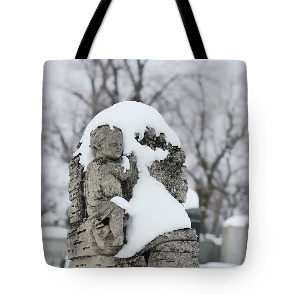 Snow Tote Bag featuring the photograph Winter Tombstone by Gothicrow Images