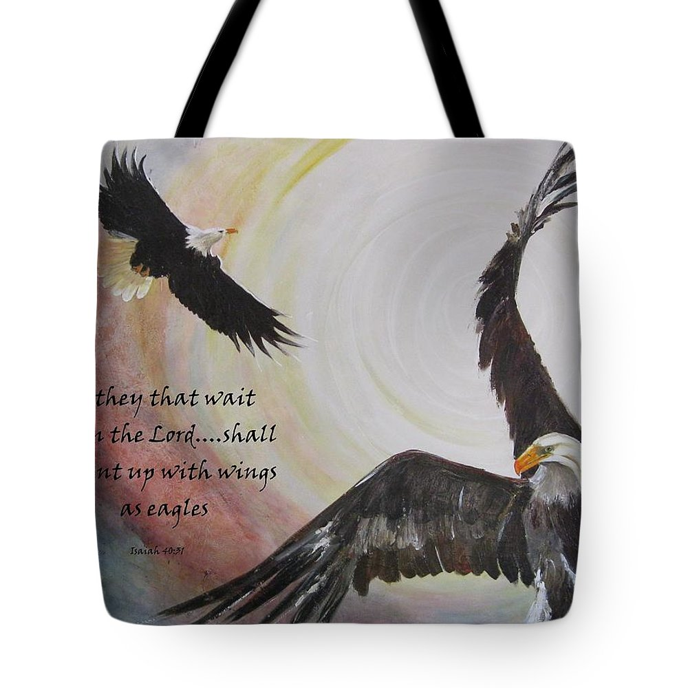 Eagles Tote Bag featuring the painting ...with Wings As Eagles by Almeta LENNON