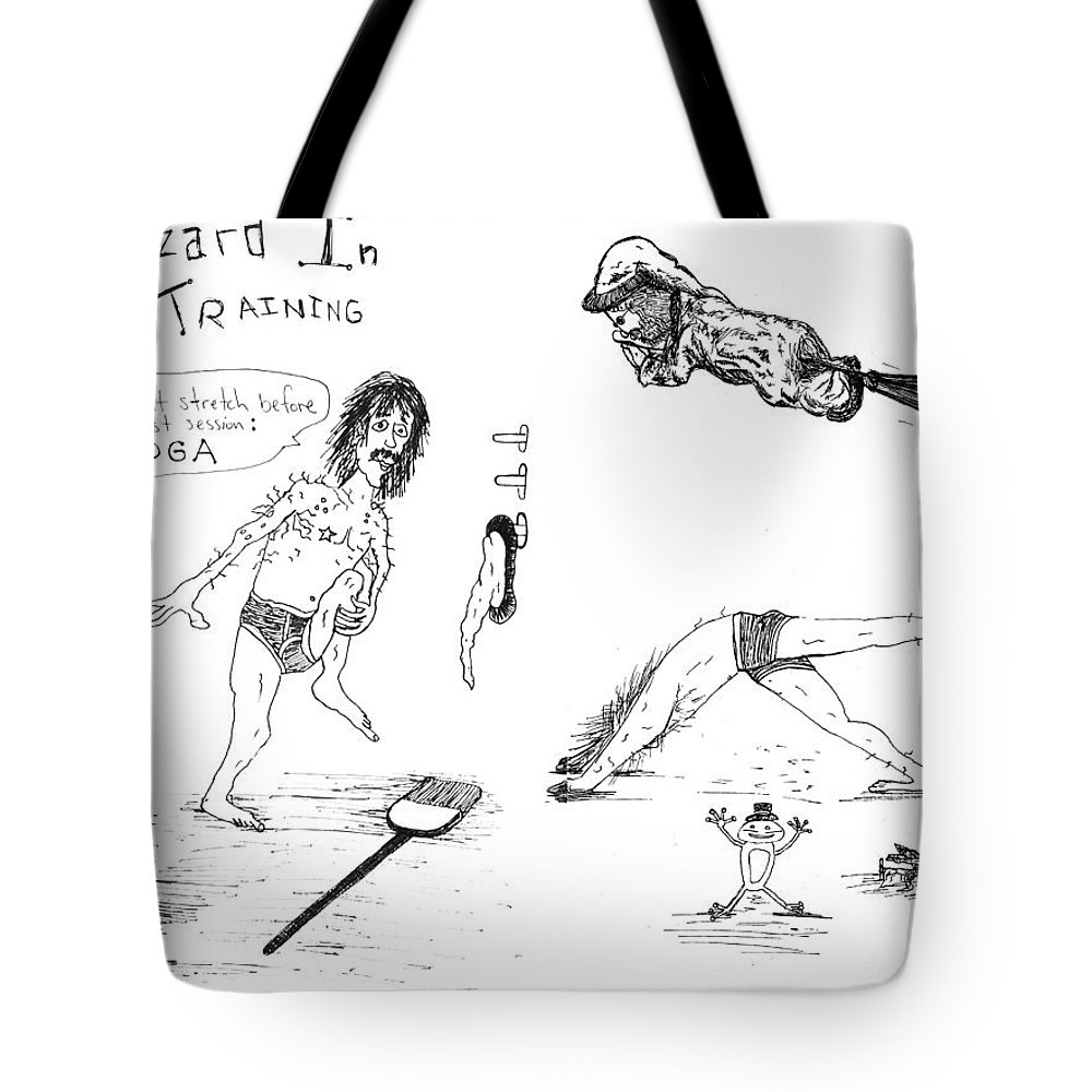Art Of Michael Mooney Tote Bag featuring the drawing Wizard In Training- Stretching by Michael Mooney