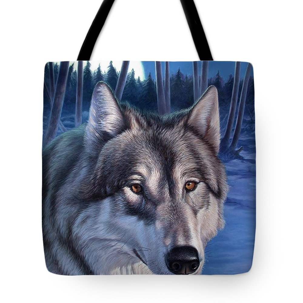 Wolf Tote Bag featuring the painting Wolf In Moonlight by Hans Droog