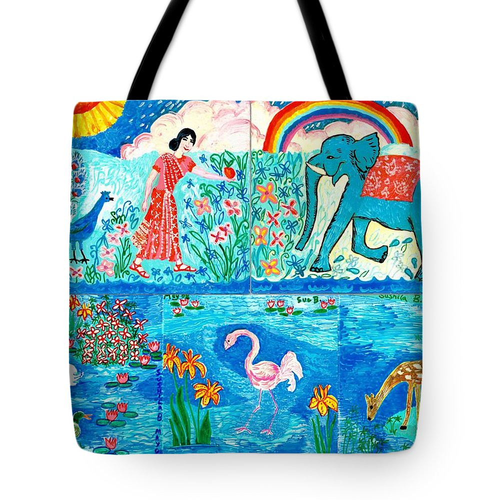 Elephant Tote Bag featuring the painting Woman And Blue Elephant Beside The Lake by Sushila Burgess