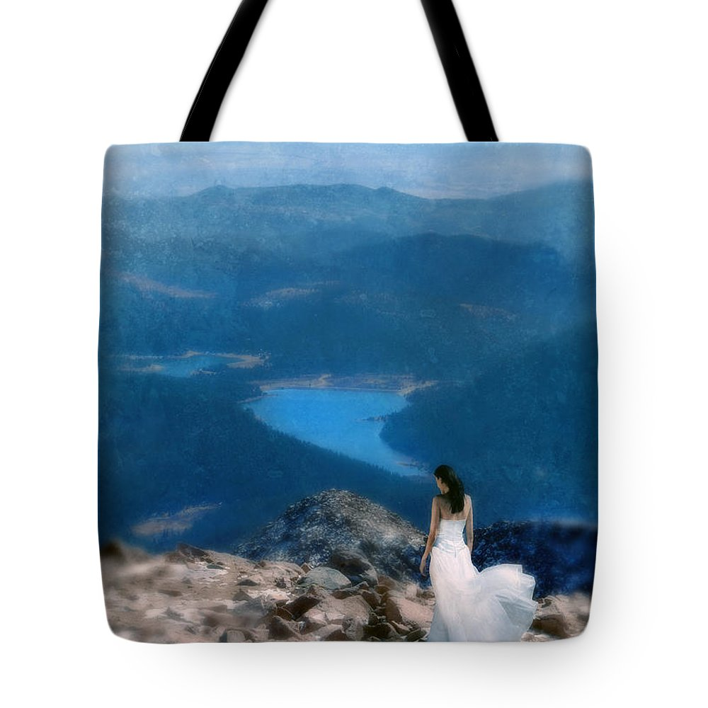 Woman Tote Bag featuring the photograph Woman In White Gown On Mountain Top by Jill Battaglia