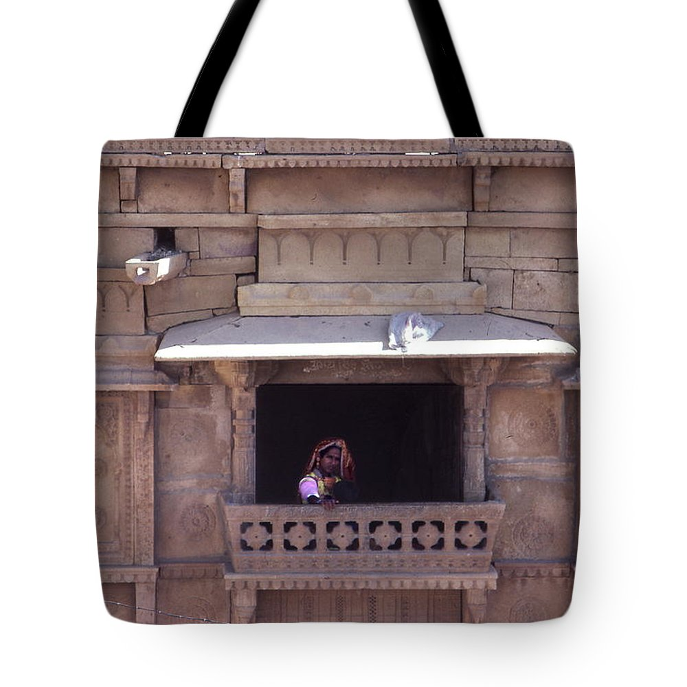 Rajasthan Tote Bag featuring the photograph Woman On The Balcony by David Halperin