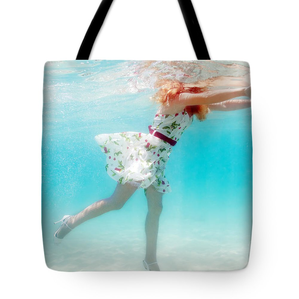 Woman Tote Bag featuring the photograph Woman Underwater by MotHaiBaPhoto Prints