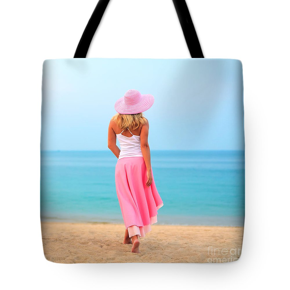 Women Tote Bag featuring the photograph Woman Walking by MotHaiBaPhoto Prints