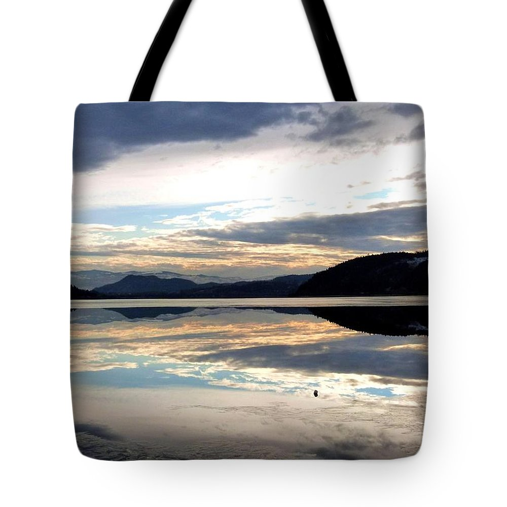 Wood Lake Tote Bag featuring the photograph Wood Lake Mirror Image by Will Borden