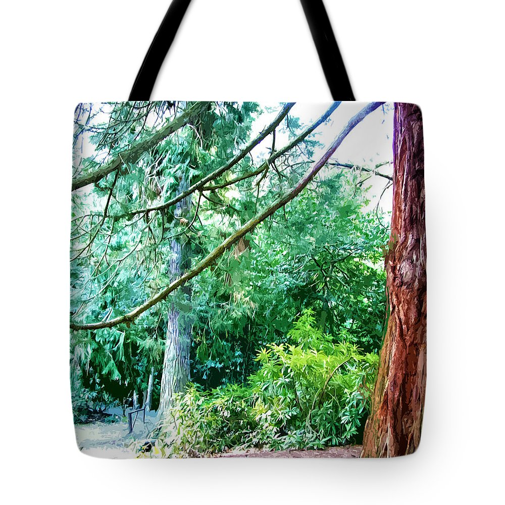 Park Tote Bag featuring the digital art Woodland And Huge Tree Illustration by Phill Petrovic