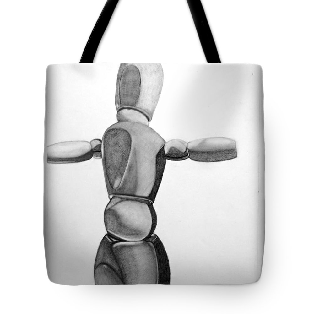 Wooden Mannequin Tote Bag featuring the drawing Woody The Super Hero 2 by Teri Schuster