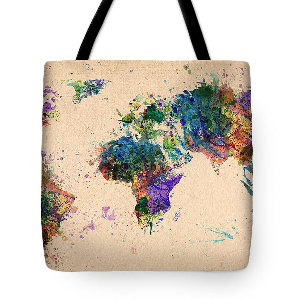 Landmark Tote Bag featuring the digital art World Map 2 by Mark Ashkenazi