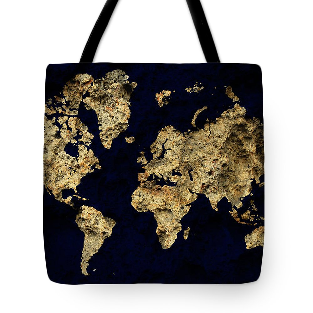 World Map Tote Bag featuring the photograph World Map Rock by Andrew Fare