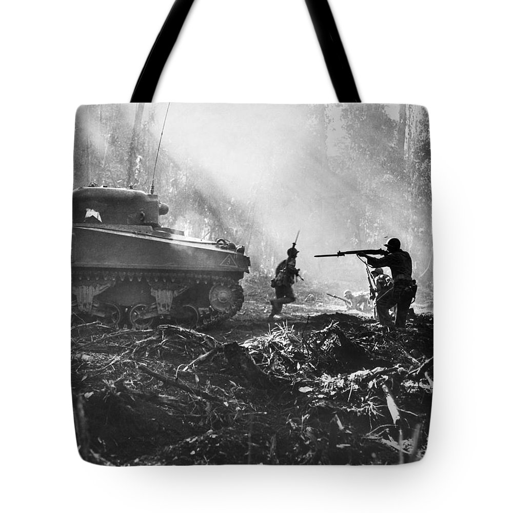 1943 Tote Bag featuring the photograph World War II: Bougainville by Granger
