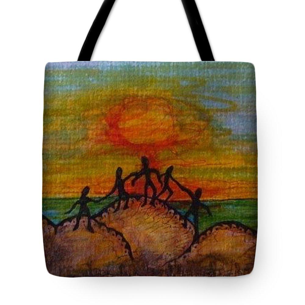 Sun Sunset Tote Bag featuring the drawing Worship by Gerri Rowan