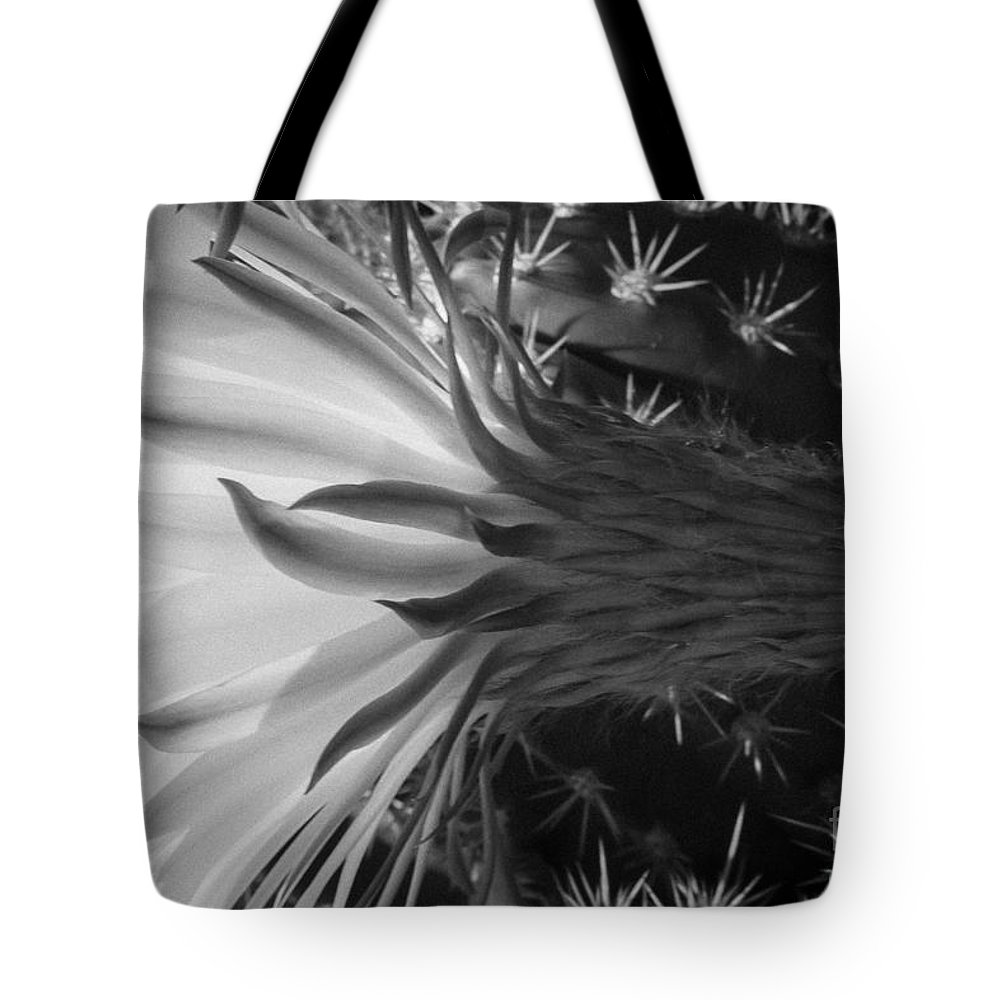 Black And White Tote Bag featuring the photograph Woven Flower Bw by Darcy Michaelchuk